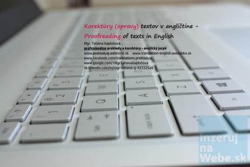 Profesionálne preklady + korektúry: anglický jazyk